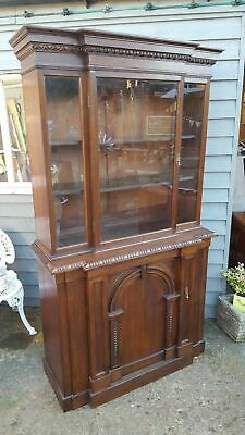 Antique Solid Oak Breakfront Bookcase Free Delivery!