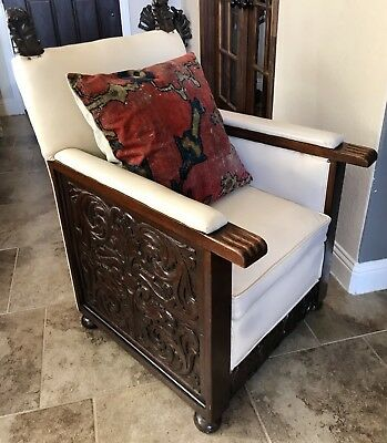 Antique Carved Dark Wood White Leather Oversize Chair Spanish Fireside Den