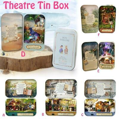 DIY Theater Mini Tin Box Dolls House Dollhouse Miniature Scene Kits Model Toy