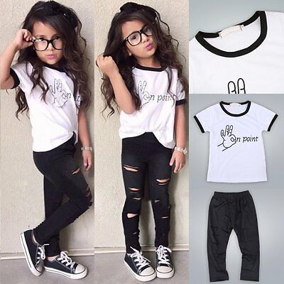 NEW Toddler Kids Baby Girls Clothes T-shirt Tops + Hole Pants 2PCS Outfits Set