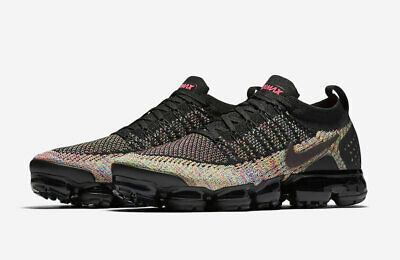 Nike Air Vapormax Flyknit 2 Size 8 Shoes Racer Pink Black Multi-Color 942842-017