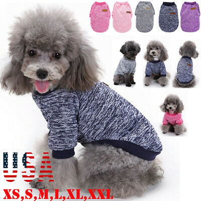 Small Dog Clothes Pet Winter Cotton Sweater Puppy Clothing Warm Apparel Coat US