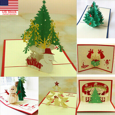 Handmade 3D Pop Up Greeting Cards Merry Christmas Tree Xmas Thanks Holiday Gift