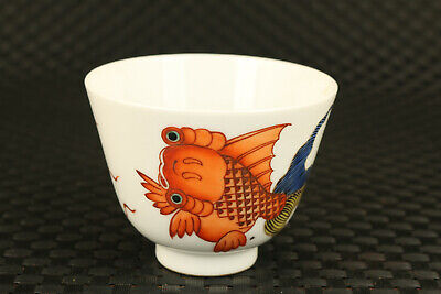 rare old chinese porcelain Hand painted goldfish bowl tea cup exquisite gift