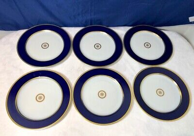 Bernardaud Limoges Sparte Or Bleu Set 6 Dessert Plate / piatti dolce NEW IN BOX