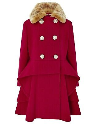 Girls Monsoon Red Charlotte Victorian Ruffle Fur Princess Coat 3 to 13 Years New
