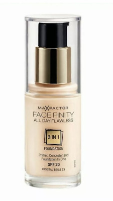MAX FACTOR FACEFINITY 3IN1 All DAY FLAWLESS FOUNDATION 30ML*CHOOSE YOUR SHADE*