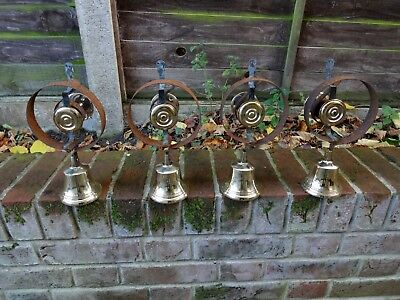 Set Of 4 Refurbished Servants Maid Butler Bell Brass Bells Door Knobs Handles