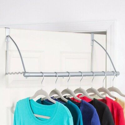Richards Homewares Silver Epoxy Over the Door Close Valet with Hanging Bar 1103111000