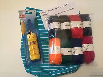 French knitting kit, learn to do french knit, yarn and knitting dolly included