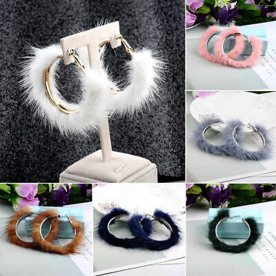 Fashion Jewelry Mink Fur Hoop Circle Large Round Earrings Christmas for Women