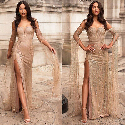 Womens Off Shoulder Sequin Maxi Long Prom Dresses Formal Cocktail Evening Party