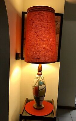 Retro Vintage Pottery And Timber Geometric Style Table / Floor Lamp