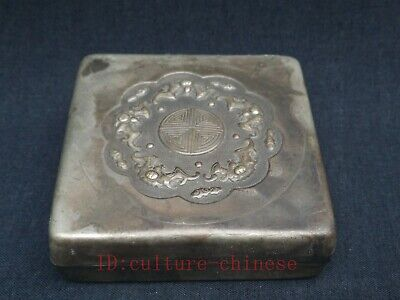 Collection Old China Tibet Silver Handmade 5 Bat ink box or Snuff Box Decoration