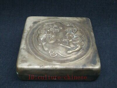 Collection Old China Tibet Silver Handmade Dragon Beast Ink Box or Snuff Box