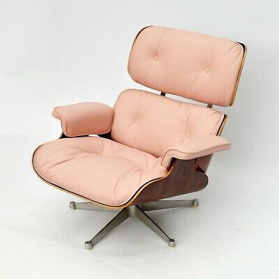 Eames Lounge Chair Herman Miller by ICF 1957 Palisander Rosewood Light Pink Rosa