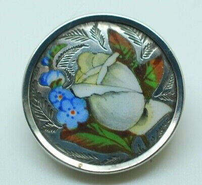 Antique Victorian Hand painted Silver Forget me not Rose Enamelled Brooch