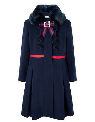 Monsoon Girls Robyn Gallery Fur Collar Frill Bow Dress Winter Coat Age 3 4 to 12