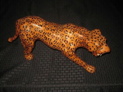 Vintage Leather Wrapped Leopard Cheetah Figure Statue