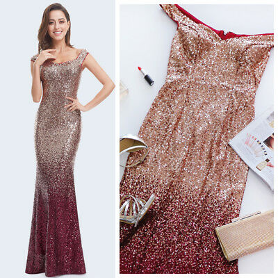 UK Ever-Pretty Sequin Evening Long Bridesmaid Formal Party Prom Gown Dress 08999
