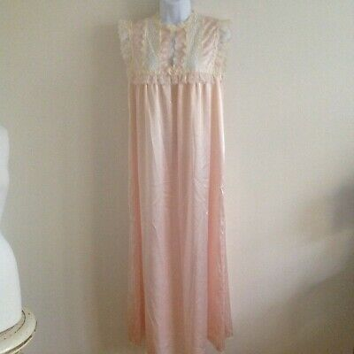 VTG Christian Dior Light Pink Lace Nightgown Long Negligee Satin Size Small