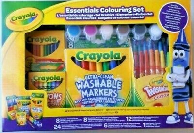 Crayola Essentials Colouring Set  Markers Crayons Pencils Paint  School & Home