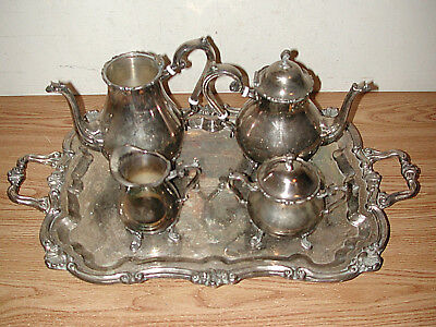 Vntge Leonard 5-Pc Silverplate Footed Tea/Coffee Set: Pots, Creamer, Sugar, Tray