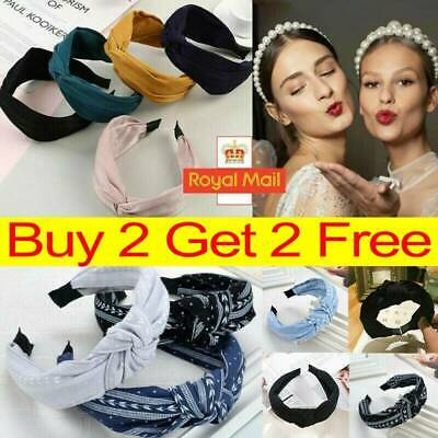Women's Cute Headband Alice Band Top Knot Fashion plain Headband Twist Hairband