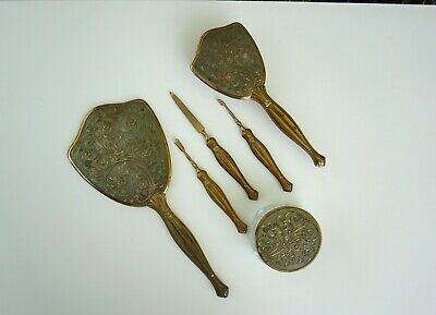 Antique Dressing Table Set Brass Hand Mirror Art Nouveau / Deco Manicure Brush