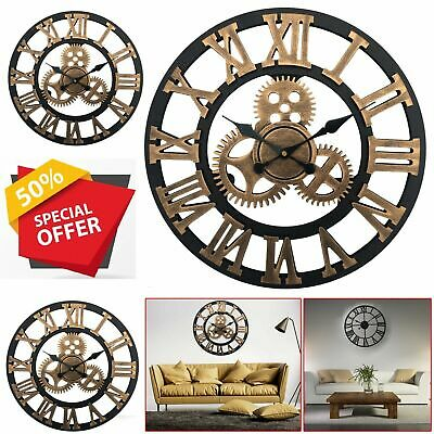New 60CM Outdoor Garden Large Wall Clock Vintage Roman Numeral Gear Rustic OS