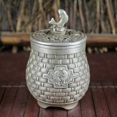 Beautiful Old tibet Silver Handwork Carved Fish bamboo crate Incense Burner