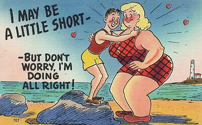 Comic Asheville I May Be A Little Short Linen Postcard - Excellent Unused
