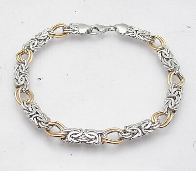 Technibond Double Curb & Byzantine Bracelet 14K Yellow White Gold Clad Silver