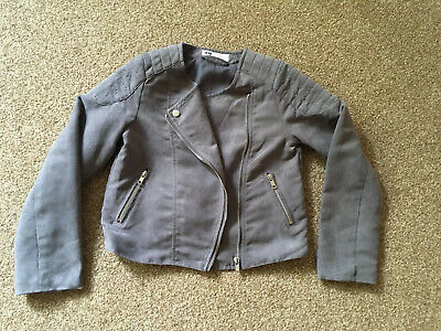 Girls, H&M, Grey, Faux Suede, Biker Style, Jacket. Age 7-8years NEW
