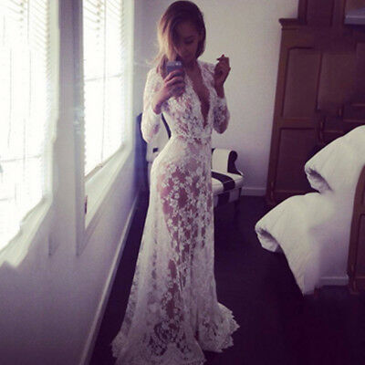 Women Lace V-Neck Pregnant Maxi Dress Cover Up Ladies Maternity Photography New