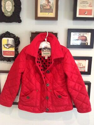 Next Girls Christmas Scarlet Red Fleece-Lined Quilted Jacket Age 7-8 Years