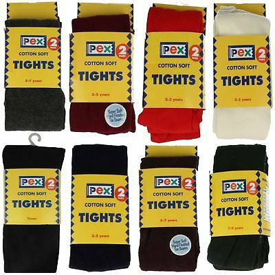 Girls PEX Cotton Soft Plain Tights School Everyday Many Colours