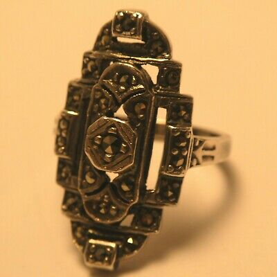 Art Deco Marcasite Sterling Silver Ring