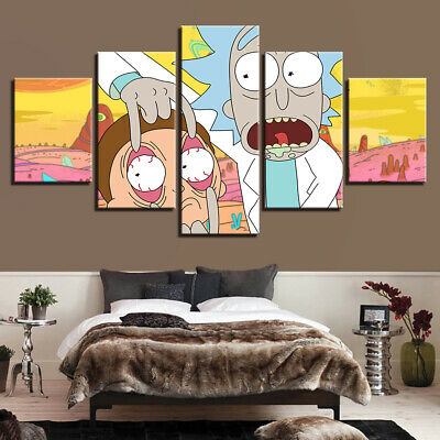 Kids Room Decor Rick And Morty Cartoon Canvas Print Painting Wall Art Poster 5P