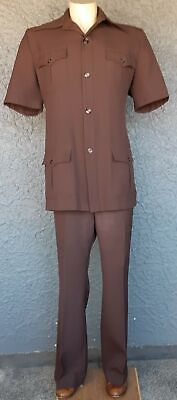 Safari Suit, Chocolate brown, Polyester, 1970s by 'Cavalry Club' size 2XL-3XL