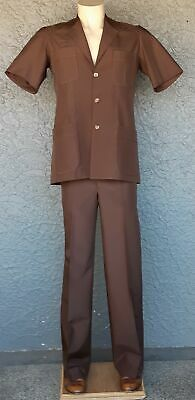 Safari Suit, Chocolate Brown, 1970's, polyester size S
