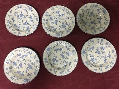 "Beautiful Bhs Bristol Blue Tableware Set Of 6 Large 9"" Soup Pasta Ribbed Bowls"