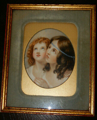 Painted Portrait of Two Sisters on Bone
