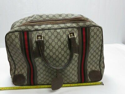 VTG GUCCI GG Monogram Canvas Suitcase w/Leather Trim Small Folding Size Carry-on