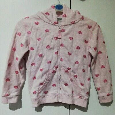 Primark Girls Pink Heart Glitter Jumper Zipped Hoodie 7-8 Years Pre-owned
