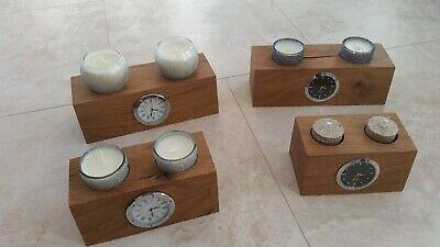 Oak Wooden Tea Light Candle Desk Clock Sconce Holder Table / Shelf / Mantle
