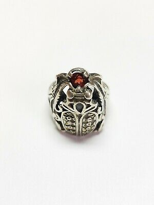 Vintage Rare Sterling Silver Marcasite Garnet Scarab Beetle Ring for Repair