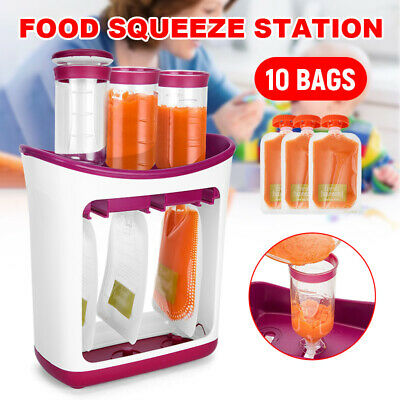 Food Squeeze Station Baby Feeding Infantino Fruit Maker 10 Pouches Reusable Bags