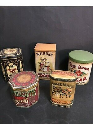 Tins Vintage Lot Of 5 Advertising Tins - Tea, Sugar, Cocoa, Biscuits, Wafers