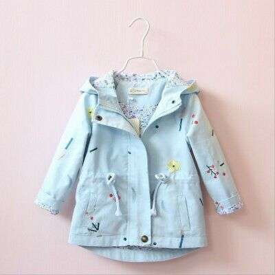 Toddler Kid Baby Girls Flower Hooded Coat Embroidery Outwear Jacket Clothes Hot